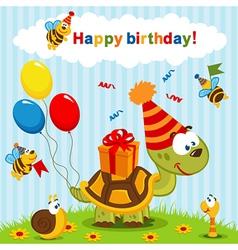 Birthday turtle vector