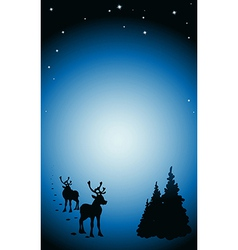 Winter background with reindeer silhouettes vector