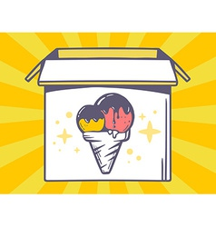 Open box with icon of ice cream on yello vector