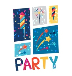 Celebration party poster with shiny confetti vector