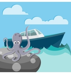 Octopus in the sea waiting for a boat vector