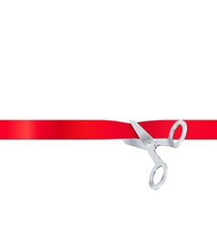 Scissors cut the red ribbon isolated on white vector