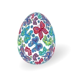 White isolated ornate realistic egg with vector