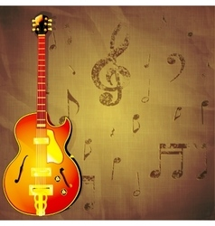 Jazz guitar on paper background with music notes vector