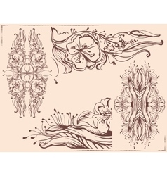 Graphic floral ornament pencil line drawing vector