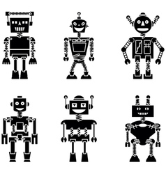 Retro robots black silhouette set vector