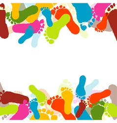 abstract background prints of foots of the child vector image