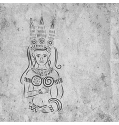 Apsara on grunge wall for your design vector