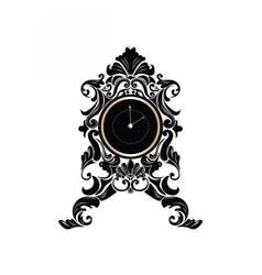 Baroque classic round golden clock vector