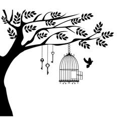 bird cage dove vector image vector image