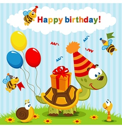 birthday turtle vector image