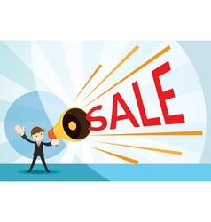 Businessman with Megaphone Announcement Sale vector image vector image