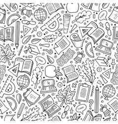 Cartoon Back to school seamless pattern vector image