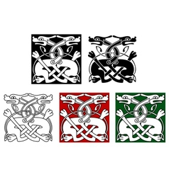 Celtic ornament with wild dogs vector image vector image