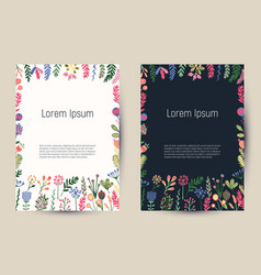 Creative floral cards with blooming flowers and vector