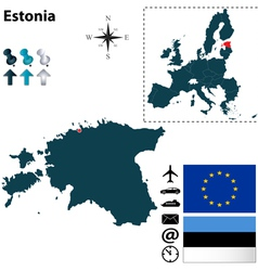 Estonia and european union map vector