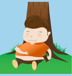 fat boy take a nap cartoon vector image
