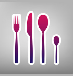 Fork spoon and knife sign purple gradient vector