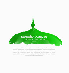 Hand painted mosque top in green color vector