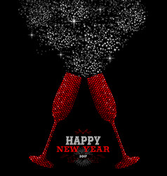 Happy new year 2017 red party drink vector