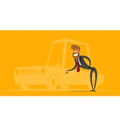 Happy salesman businessman handing car keys vector image vector image