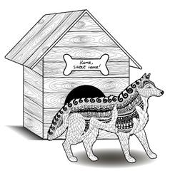 High detail patterned husky vector
