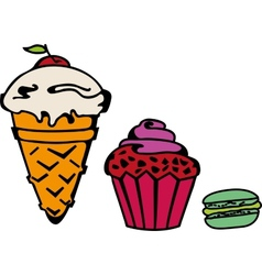 Icecream cupcake makaroni set vector image vector image
