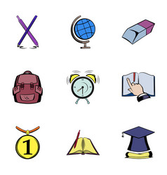 Knowledge icons set cartoon style vector
