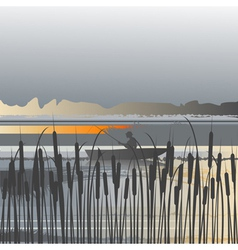 landscape fisherman vector image