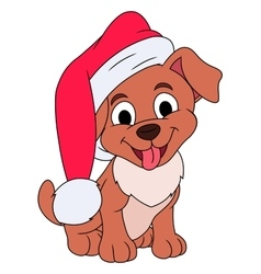 Little puppy with Santa hat vector image vector image