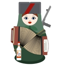 Matryoshka with an accordion a gun and vodka vector image