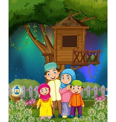Muslim family in the garden at night vector