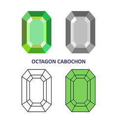 Octagon cabochon gem cut vector
