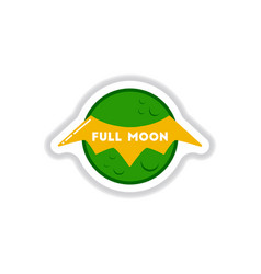 Paper sticker on background of full moon bat vector
