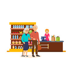 people between ages walk through the mall vector image