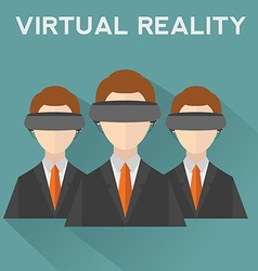 People wearing virtual reality helmet conceptual vector