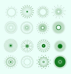 Retro sun burst shapes vintage logo vector