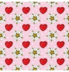 Seamless Pattern with White Flowers and Hearts vector image vector image