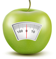 Set of apples with a weight scale Diet concept vector image