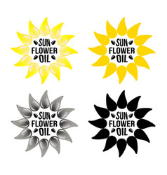 Set of bright yellow sunflower logo emblem vector
