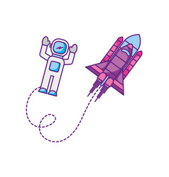 space astronaut with spaceship travel adventure vector image