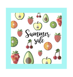 summer sale banner with pieces of ripe fruit vector image