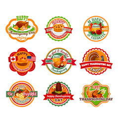 thanksgiving day label set of autumn harvest vector image