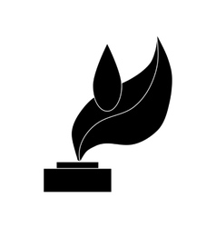 Trophy sign with leaf icon black simple style vector image
