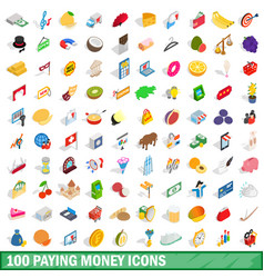 100 paying money icons set isometric 3d style vector