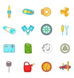 Auto spare parts icons set cartoon style vector