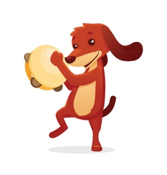 Musical animals dog tamborine vector