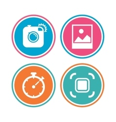 Photo camera icon autofocus zone and landscape vector