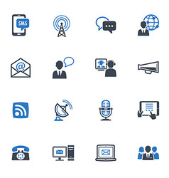 Communication icons set 1 - blue series vector