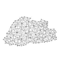 Map of bhutan from polygonal black lines vector